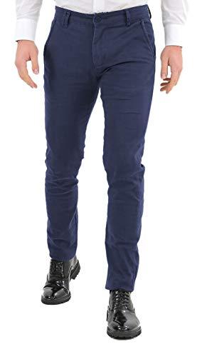 Ciabalù Pantaloni Uomo Eleganti in Cotone Slim Fit Leggeri Blu Nero Grigio Pantalone Chino Stretti Primaverili (Blu, 46)