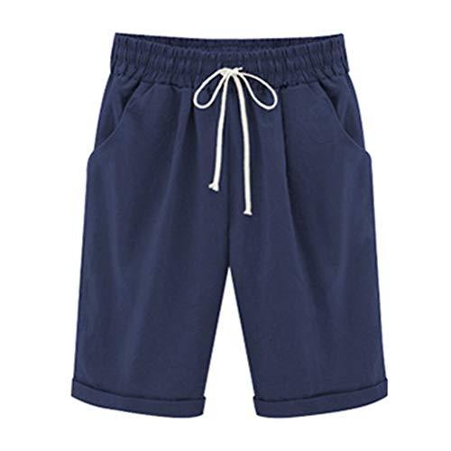 Bermuda Señoras De La Modernas Los De Rodilla Longitud Casual Pantalones Cortos De Verano con Mujer Elásticos del Tamaño De Los Tamaños De Pantalones Flojos Estiramiento
