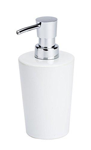 WENKO Keramik Seifenspender Coni Weiß - Flüssigseifen-Spender, Spülmittel-Spender Fassungsvermögen: 0.3 l, Keramik, 9.2 x 16.4 x 7.8 cm, Weiß