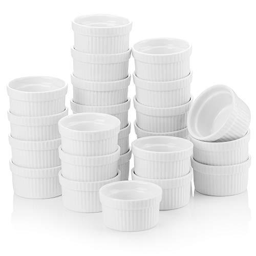 MALACASA, Series Ramekin, 24 Piezas 2.4 (6 cm) Crema de Cerámica Juego de Platos de Porcelana, Color Banco Marfil Mini Cuencos y Platos de Salsa Snack Postre