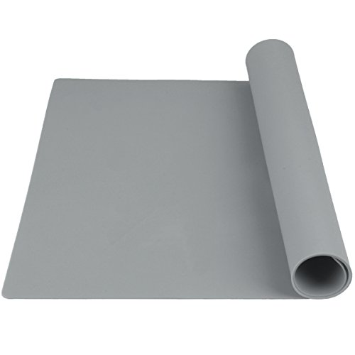 GUGELIVES Large Silicone Baking Mat, Pastry Mat for Rolling Dough, Fondant Mat, Heat Resistant Table Mat Silicone Placemat, Countertop Protector, Pure Color, 23.6  15.7  (Gray)