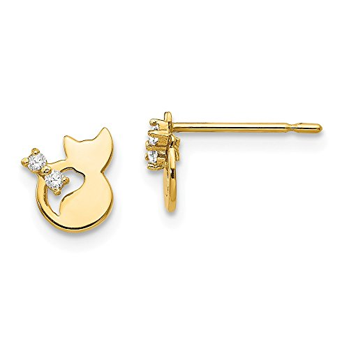 14k Yellow Gold Cubic Zirconia Cz Childrens Cat Post Stud Earrings Animal Dog Fine Jewelry For Women Gifts For Her