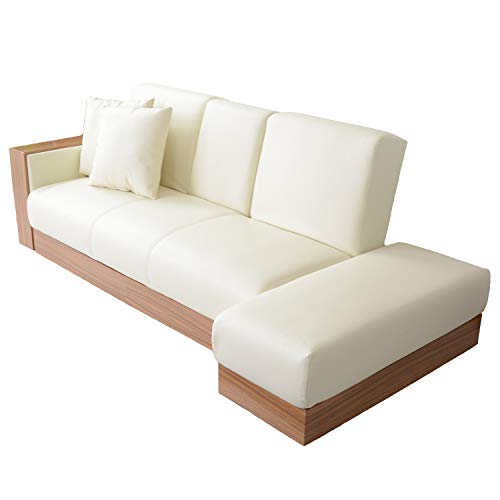 DORIS ソファーベッド シングル 収納 引き出し スツール ソファベッド テーブル付き 幅206cm レザー ホワイト ナトゥーラ