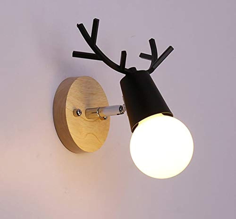 ● Einfach Nachttischlampen Modern Wandlampe in elchgeweihform Innen Wandleuchte 1 Flammig Schlafzimmer Lampe Wand Beleuchtung für Wohnzimmer Küche Flur Kinderzimmer Kind Leuchte Max 40W (Schwarz, C) ●