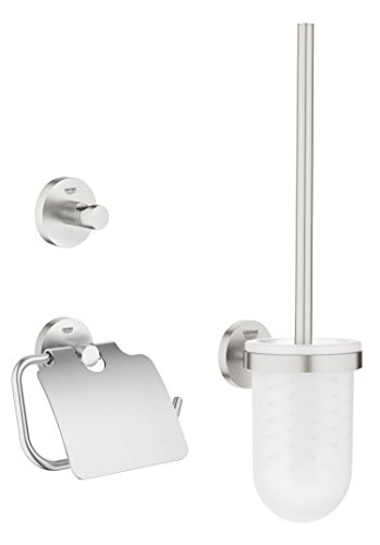 GROHE Essentials Bad-Accessoires (WC-Set 3 in 1, supersteel, Material: Glas / Metall) 40407DC1