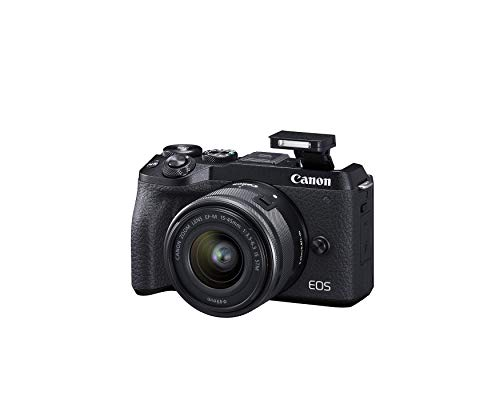 Canon EOS M6 Mark II Mirrorless camera for Vlogging + 15-45mm lens, CMOS, APS-C Sensor, Dual Pixel CMOS Auto Focus, Wi-Fi,Bluetooth and 4K Video