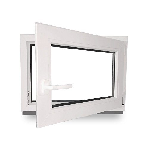 Kellerfenster - Kunststoff - Fenster - weiß - BxH: 70x50cm - DIN Rechts - 3-Fach-Verglasung - Wunschmaße ohne Aufpreis
