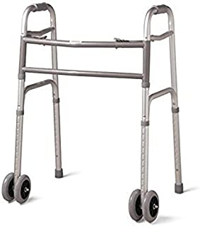 MediChoice Dual-Release Folding Walker/Two Button, Height Adjustable with 5 Inch Wheels, Aluminum, Heavy Duty Bariatric 600 lbs Capacity, 2867BAR806W (1 Each)