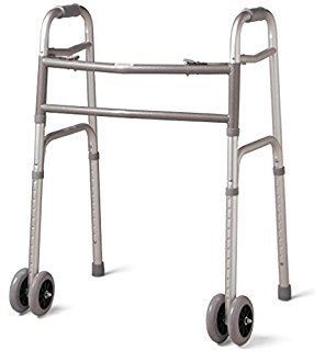 MediChoice Dual-Release Two Button/Folding Walker, Height Adjustable with 5 Inch Wheels, Aluminum, Heavy Duty Bariatric 600 lbs Capacity (1 Each)