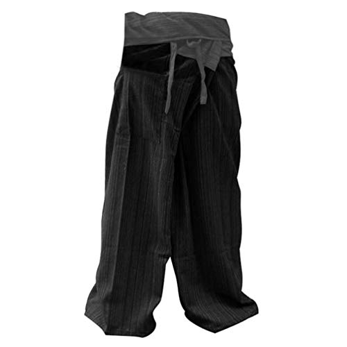 2 TONE Thai Fisherman Pants Yoga Trousers FREE SIZE Plus Size Cotton Gray and Charcoal