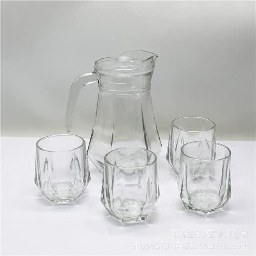 Juego de vasos de vidrio de cinco piezas hexagonales Set de bebidas de vidrio transparente Jarra de agua transparente Juego de botellas de vidrio de jugo (traje de cinco piezas blanco puro)