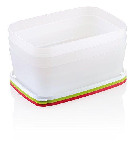 Tescoma Purity Hygiene Behälter für Freezer 1.5L, 3Stück, Kunststoff, weiß/grün/gelb