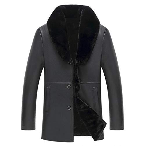 Herenjas, pluche mantel, warme herenjas, medium lange leren mantel Big bontkraag winkel PU-lederen jas knoopscasual lederen jas