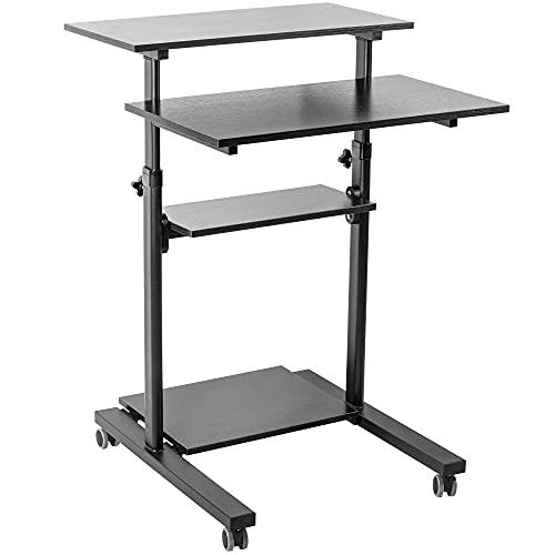 VIVO Mobile Height Adjustable Table Stand Up Desk with Storage, Computer Workstation Rolling Presentation Cart, Black, CART-V02DB