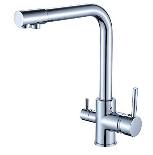 JOHO 3 Wege Küchenarmatur Trinkwasser Wasserhahn für Wasserfilter Spültischarmatur 3 In 1 Mischbatterie Küchenspüle Filtersystem