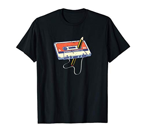 Tape Cassette and and Pencil Rewind T-shirt, adult, child sizes