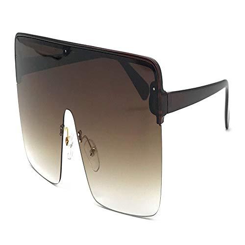 longhua Gafas de sol siamesas sin marco Estuche grande Océano Gafas de sol Hombres y mujeres con el mismo párrafo Gafas cuadradas Marrón Marco negro