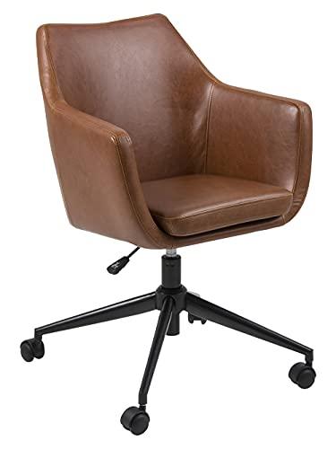 AC Design Furniture Trine Silla de Oficina, Metal, Cognac marrón, B: 58 x T:58 x H: 95 cm