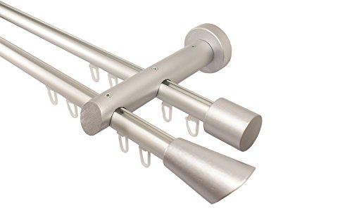 iso-design Innenlauf Gardinenstange 2-läufig aus Aluminium und Holz alu Silber, 20 mm, Endstück Digo, 240 cm (2 x 120 cm)