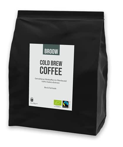 broow - Cold Brew Coffee   Bio & Fairtrade   gemahlener Röstkaffee im Filterbeutel   DE-ÖKO-006 (1 x Packung)