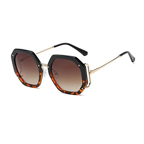 U/N Gafas de Sol cuadradas de Leopardo Negro con Estampado de Moda para Mujer, Gafas de Sol con gradiente de aleación Elegantes y Vintage para Mujer, Elegantes Tonos Rojos-3