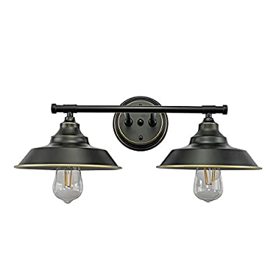 LMSOD Modern Industrial 2-Light Wall Mount Light Sconces?Vanity/Bathroom Black Wall Lamp