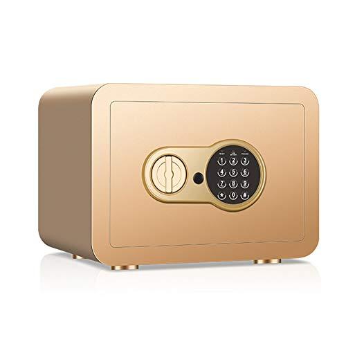 ASWT-Tresore, mini elektronische blokkering kluis dual-alarmsysteem 2 lagen thuis klein wachtwoord anti-diefstal-safe, (met reservesleutel) goud 350 x 250 x 250 mm