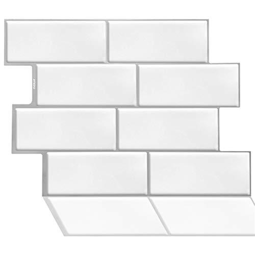 ZXF Pegatinas de baldosas, 10 Comprimidos de Color Blanco Peel de baldosas y palillo Autoadhesivo Decorativo de la Pared del Mosaico backsplash de la Cocina Cuarto de baño Decoración