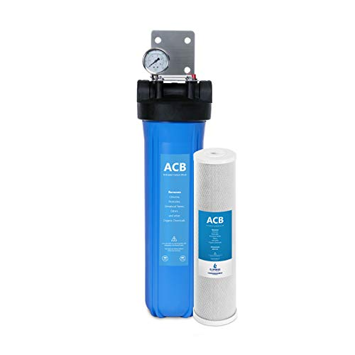 Express Water Whole House Water Filter, 1 Stage Home Water Filtration System, Carbon Filter, Includes Pressure Gauges, Easy Release, and 1 Inch Connections.