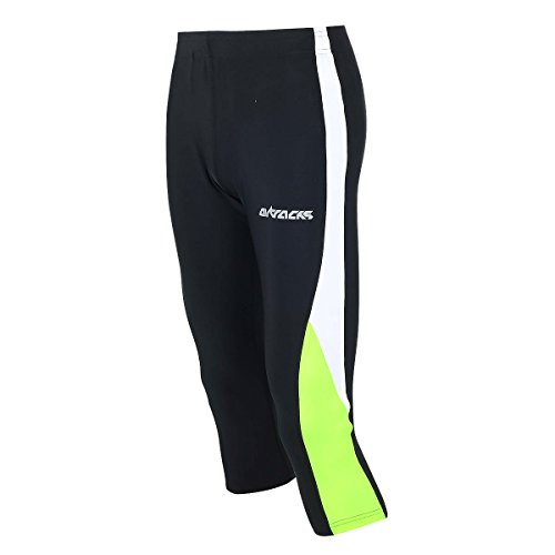 Airtracks FUNKTIONS Laufhose 3/4 LANG/Running Hose/Tight/Kompression - schwarz-neon - XL
