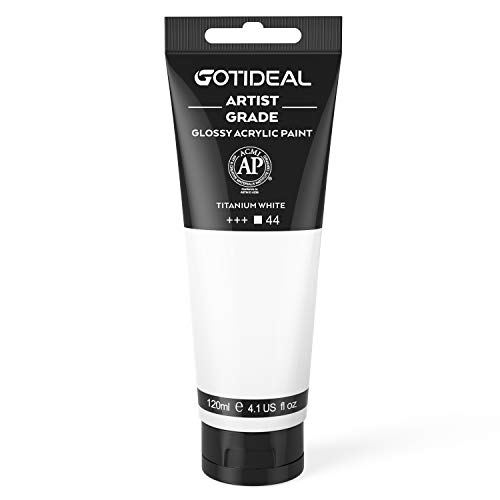 GOTIDEAL Acrylic Paint Titanium White Tubes(120ml, 4.1 oz) Non Toxic Non Fading,Rich Pigments for Painters, Adults & Kids, Ideal for Canvas Wood Clay Fabric Ceramic Craft Supplies (Titanium White)