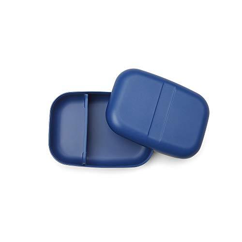 EKOBO - Boîte Repas - Bento avec Séparateur Amovible - en Fibre de Bambou - Haute Durabilité et Qualité - sans BPA, sans Vernis, sans Plastique - 15 x 15 x 6,5 cm - Bleu Royal