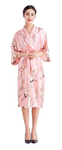 Pajama - Bata larga de seda para mujer, estilo kimono Coral rojo. M