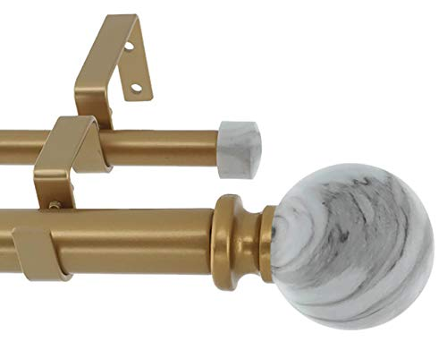 MERIVILLE 1-Inch Diameter Double Window Treatment Curtain Rod, White Marble Ball Finial, 84-inch to 120-inch Adjustable, Royal Gold