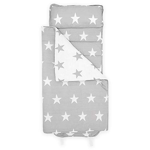"""Bloomsbury Mill - Gray and White Stars - Super Soft Toddler Nap Mat - Includes Pillow, Mat and Blanket - Ideal Gift & Sleep Bag for Kindergarten and Pre-School - 20"""" x 53"""""""