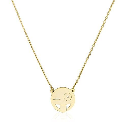 Córdoba Jewels | Gargantilla en Plata de Ley 925 bañada en Oro. Diseño Emoticono Guiño Oro