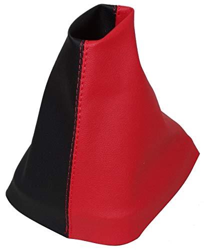 Aerzetix schakelmanchet van kunstleer met variabele naden (zwart en rood)