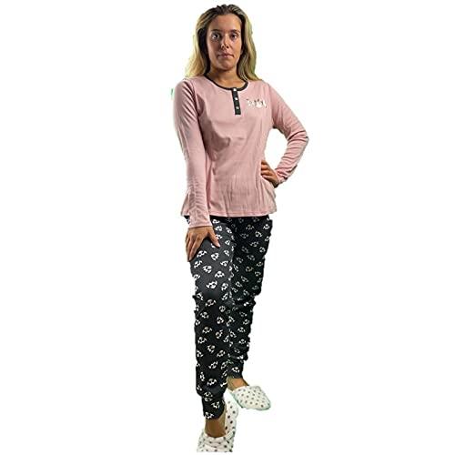 Infiore Pijama de mujer de puro algodón cálido art. JFL0578, Rosa, Small