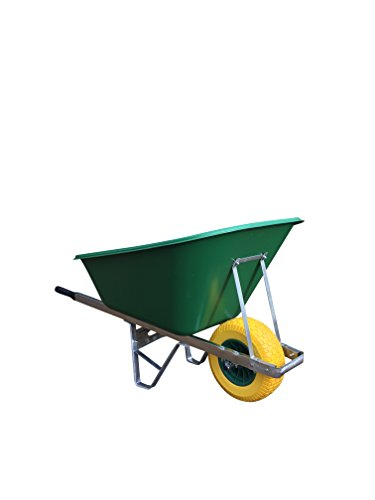 Wheelbarrows Direct Ltd 200l Green with 150mm Wider Wheel Puncture-Proof Wheelbarrow - Delivered Fully Assembled