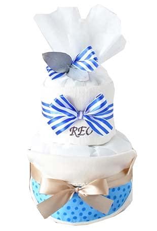 ribon 出産祝い おむつケーキ 今治 タオル 名入れ おしゃれ GOTS認証 北欧 オーガニック   (S, ドットブルー)