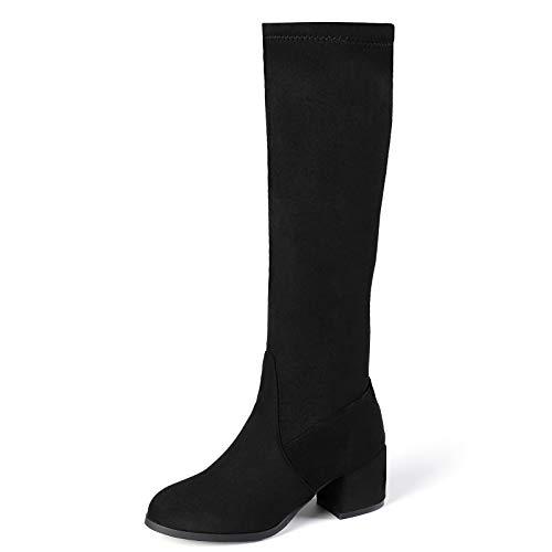 HUHU833 Damen Stiefel High Heels Absatz mit Reißverschluss Stiefeletten Elegant Knie Hoch Stiefel mit Blockabsatz Schleifen Fashion Plateau Hohe Stiefel Absatz (Schwarz, 37 EU)