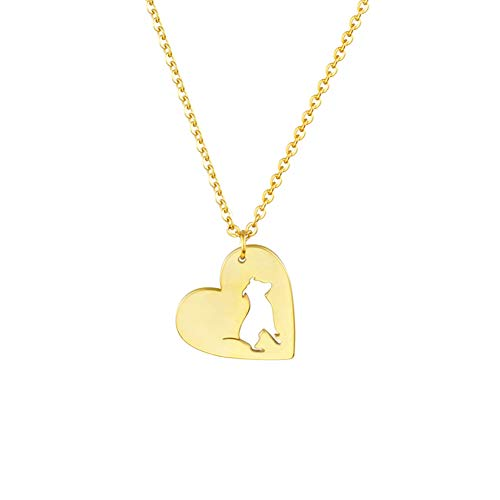 Collar FyaWTM, Joyas Colgante Mini Pitbull Pet Dog Collares Colgantes Mujeres Hombres Joyas Acero Inoxidable Color OroBull Terrier Collar de corazón