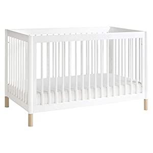 babyletto Gelato 4-in-1 Convertible Crib with Toddler Bed Conversion in White / Washed Natural, Greenguard Gold Certified