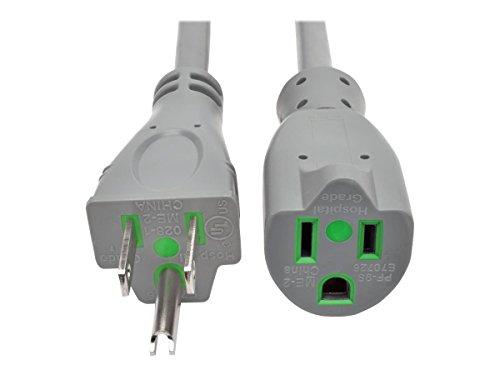 Tripp Lite 15ft Hospital Medical Power Extension Cord 5-15P HG 5-15R HG 120V 13A Gray 15' (P022-015-GY-HG)