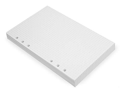A5 6-Loch Einlagen - 6-Ring A5 Papier, Punktiert - Lose Einzelblätter - A5 6-Loch Papier kompatibel mit Filofax, 200 Punktraster Seiten A5 Einlagen gepunktet