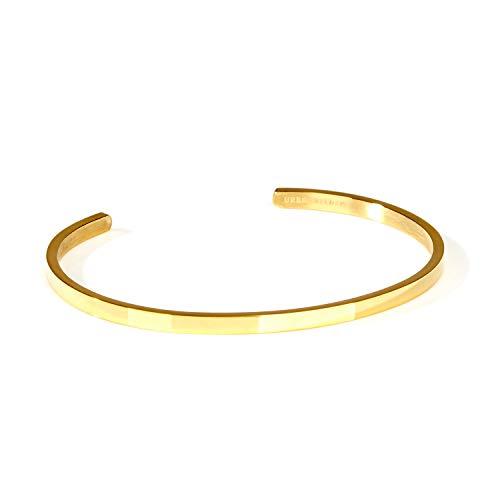 URBANHELDEN - Armreif Bangle Edel Schlicht - Damen Schmuck - Verstellbar, Edelstahl - Armband Blank - Gold