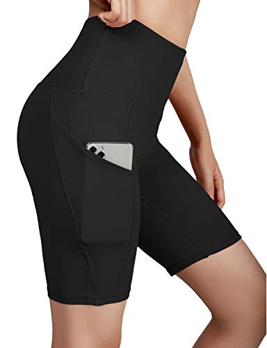 ODODOS High Waist Out Pocket Yoga Short Tummy Control Workout Running Athletic Non See-Through Yoga Shorts,Black,Medium
