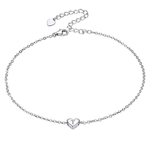 Silvora Letter T Women's 925 Sterling Silver Tiny Initial Heart Anklets-Silver Strong Chain