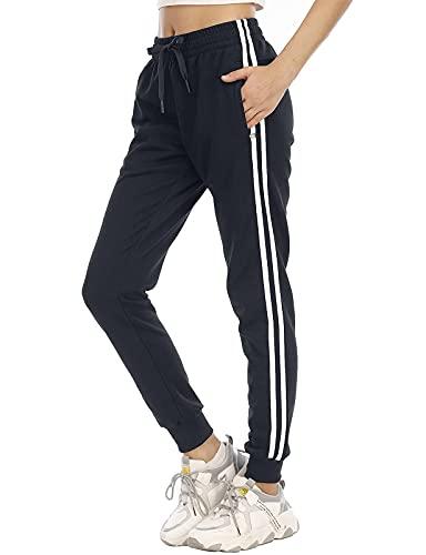 DAFENP Pantalon Chandal Mujer Largos Pantalones Chándal Deporte Yoga Fitness Gimnasio Jogger Algodón Pantalones Casual Rayas con Cremallera Bolsillo KZ6802W-BlueWhite-2G-XL