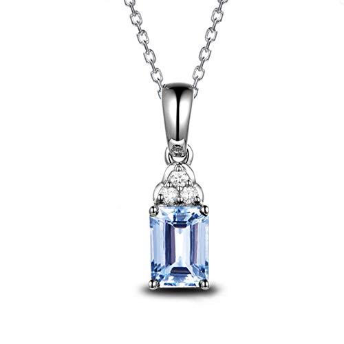 Anwaz - Collar para mujer con colgante rectangular en plata de ley 925, color azul